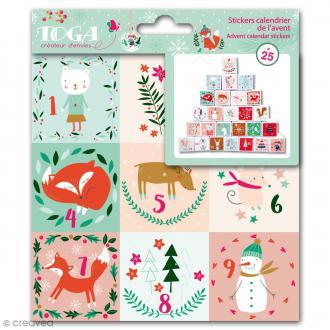 Stickers de l'Avent Toga Noël en forêt - 25 pcs