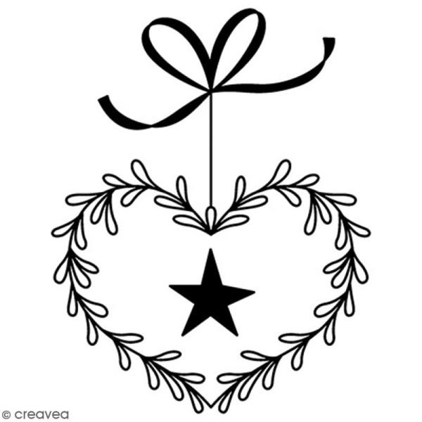 Tampon Bois Artemio - Coeur & étoile - 5,5 x 3,5 cm - Photo n°1