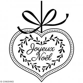 Tampon Bois Artemio - Coeur Joyeux Noël - 6 x 5 cm