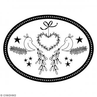 Tampon Bois Artemio - Médaillon cœur et oiseaux - 7,5 x 6,5 cm