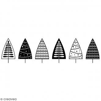 Tampon Bois Artemio - Frise Sapins - 10 x 2,7 cm