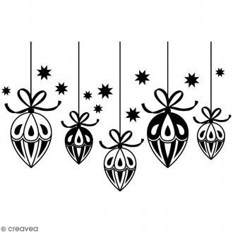Tampon Bois Artemio - Boules de Noël - 8,7 x 5,7 cm