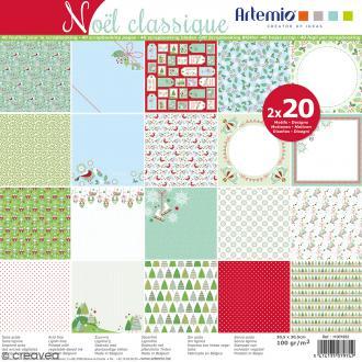 Papier Scrapbooking Artemio - Noël classique - 30,5 x 30,5 cm - 40 feuilles