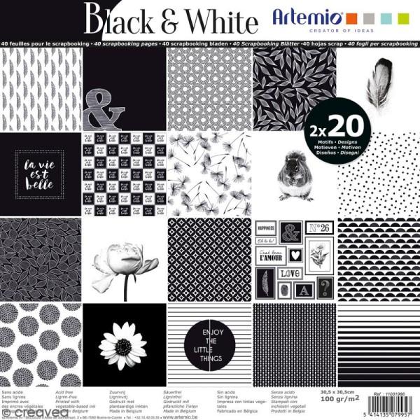 Papier Scrapbooking Artemio - Black & White - 30,5 x 30,5 cm - 40 feuilles - Photo n°1
