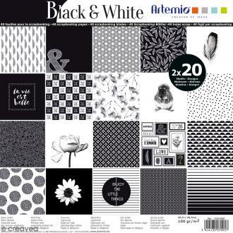 Papier Scrapbooking Artemio - Black & White - 30,5 x 30,5 cm - 40 feuilles