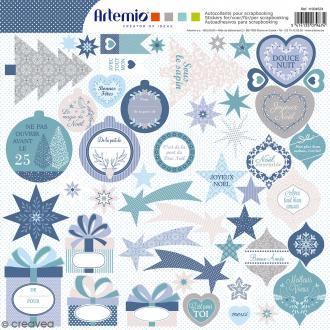 Stickers Artemio - Noël Givré 2 - 1 planche 30,5 x 30,5 cm
