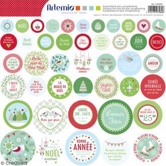 Stickers Artemio - Noël Classique 1 - 1 planche 30,5 x 30,5 cm