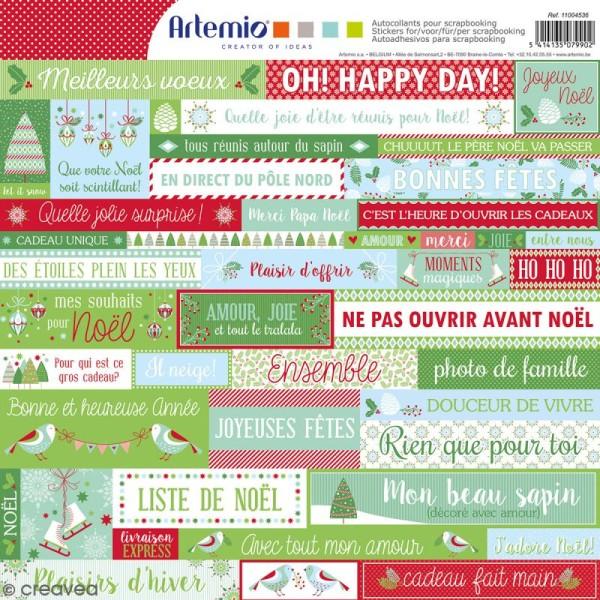 Stickers Artemio - Noël classique - 1 planche 30,5 x 30,5 cm - Photo n°1