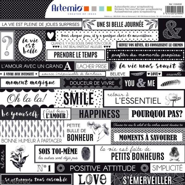 Stickers Artemio - Black & White - 1 planche 30,5 x 30,5 cm - Photo n°1