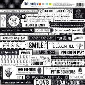 Stickers Artemio - Black & White - 1 planche 30,5 x 30,5 cm