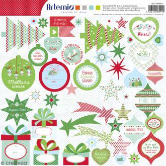 Stickers Artemio - Noël Classique 2 - 1 planche 30,5 x 30,5 cm