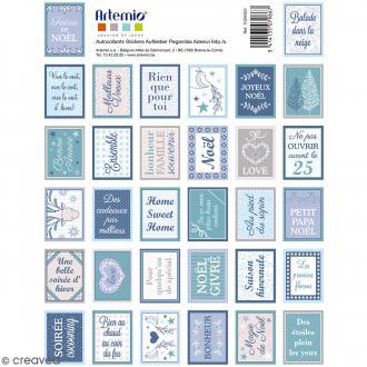 Stickers timbres décoratifs - Noël Givré - 3,3 x 2,7 cm - 64 pcs
