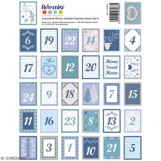 Stickers timbres décoratifs - Noël Givré Avent - 3,3 x 2,7 cm - 64 pcs