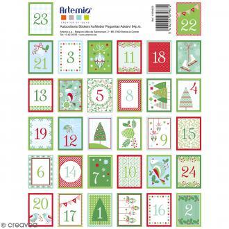 Stickers timbres décoratifs - Noël Classique Avent - 3,3 x 2,7 cm - 64 pcs