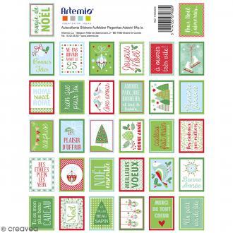 Stickers timbres décoratifs - Noël classique - 3,3 x 2,7 cm - 64 pcs