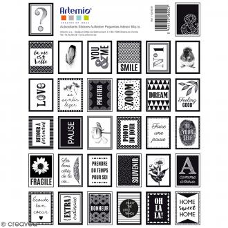 Stickers timbres décoratifs - Black & White - 3,3 x 2,7 cm - 64 pcs