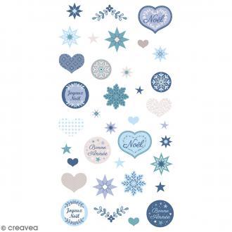 Stickers Artemio Puffies - Noël Givré - 37 pcs