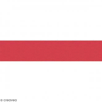 Ruban en papier Noël Classique - Rouge à pois roses - 5 cm x 6,5 m