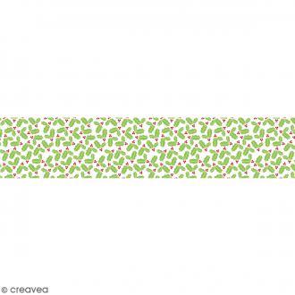 Ruban en papier Noël Classique - Houx - 5 cm x 6,5 m