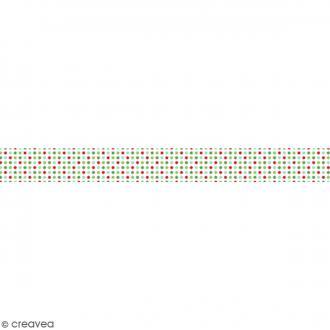 Ruban en papier Noël Classique - Etoiles multicolores - 2,5 cm x 9 m