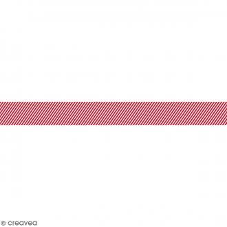 Ruban en papier Noël Classique - Lignes rouges et blanches - 2,5 cm x 9 m