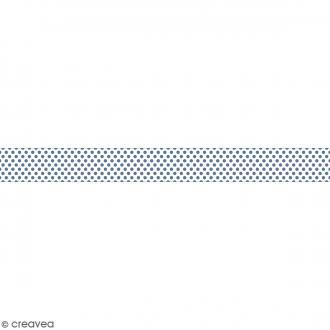 Ruban en papier Noël Givré - Pois bleus fond blanc - 2,5 cm x 9 m