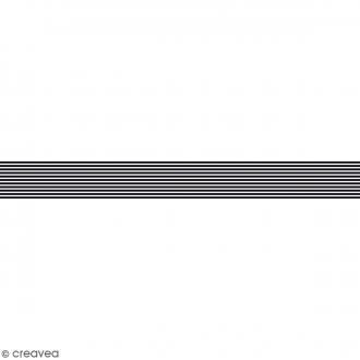 Ruban en papier Black & White - Lignes noires et blanches - 2,5 cm x 9 m