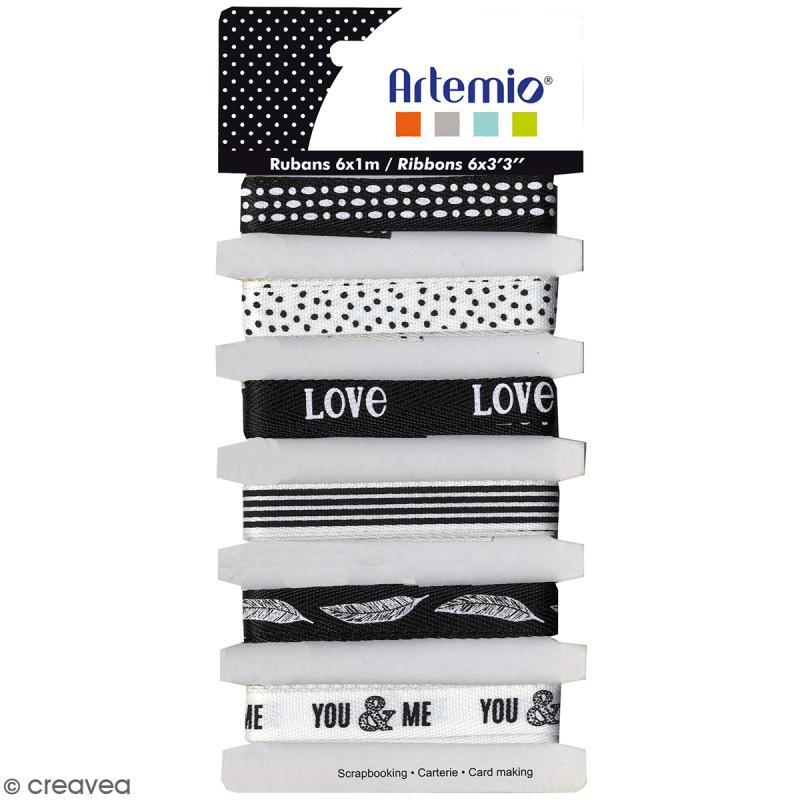 Rubans Artemio - Black & White - 1 cm x 1 m - 6 pcs - Photo n°1