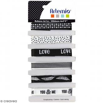 Rubans Artemio - Black & White - 1 cm x 1 m - 6 pcs