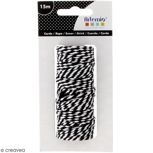 Ficelle bicolore coton - Black & White - 1 mm x 15 m - Photo n°1