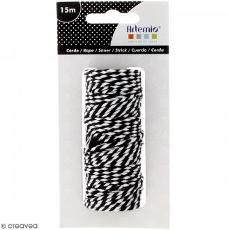 Ficelle bicolore coton - Black & White - 1 mm x 15 m
