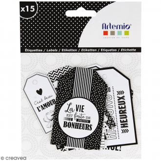 Die cut Artemio - Etiquettes Black & White - 15 pcs
