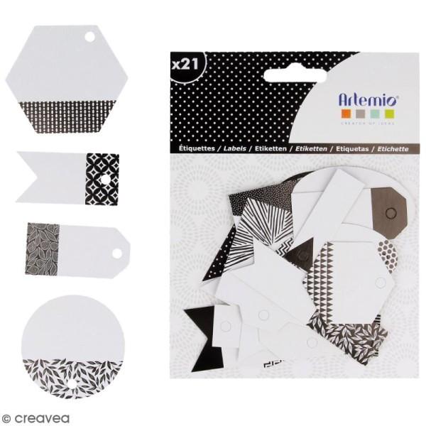 Die cut Artemio - Etiquettes Black & White - 21 pcs - Photo n°2