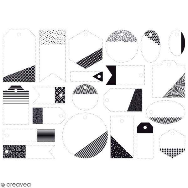 Die cut Artemio - Etiquettes Black & White - 21 pcs - Photo n°3