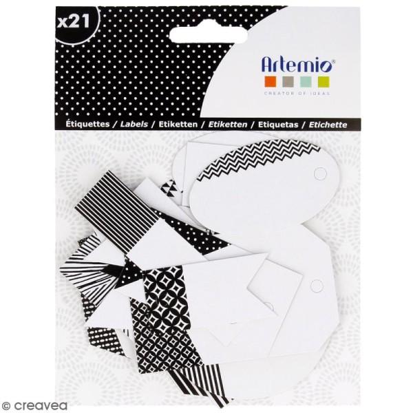 Die cut Artemio - Etiquettes Black & White - 21 pcs - Photo n°1