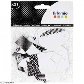 Die cut Artemio - Etiquettes Black & White - 21 pcs