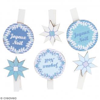 Pince à linge en bois - Noël Givré - 4 x 3 cm - 6 pcs