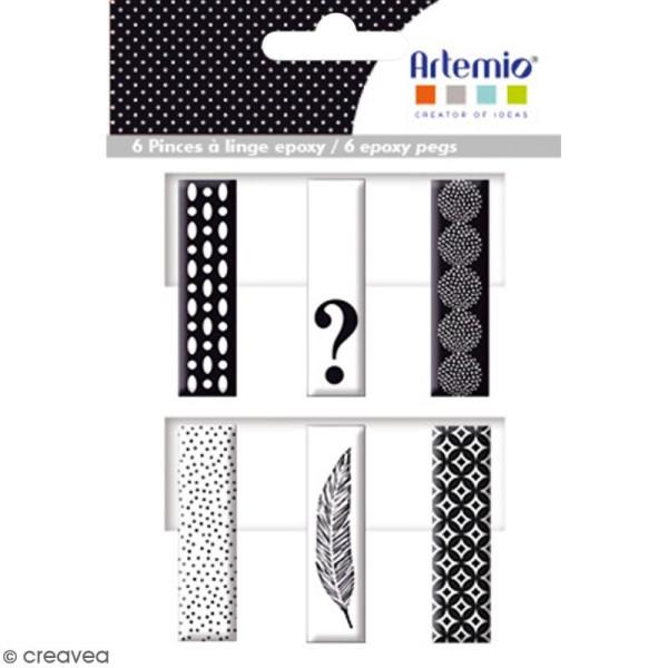 Pince à linge en époxy - Black & White - 4,5 x 1,2 cm - 6 pcs - Photo n°1