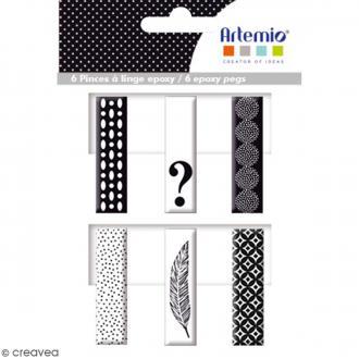 Pince à linge en époxy - Black & White - 4,5 x 1,2 cm - 6 pcs