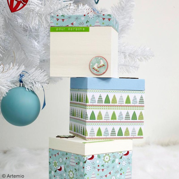 Autocollants en bois - Noël classique - 12 pcs - Photo n°3