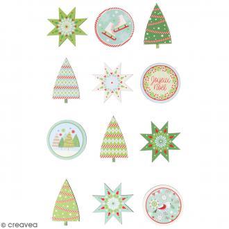 Autocollants en bois - Noël classique - 12 pcs