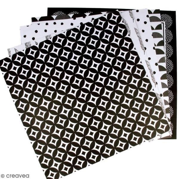 Kit scrapbooking Black & White - Papier, Stickers et Tampons - Photo n°2