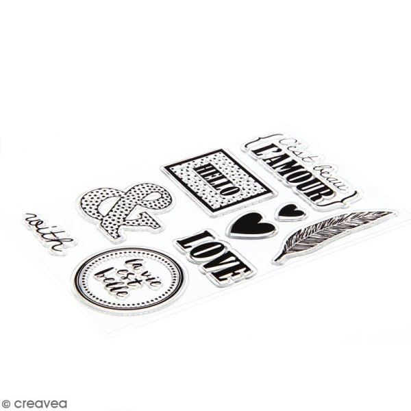 Kit scrapbooking Black & White - Papier, Stickers et Tampons - Photo n°3