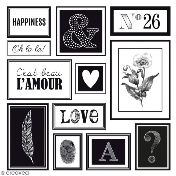Kit scrapbooking Black & White - Papier, Stickers et Tampons - Photo n°5