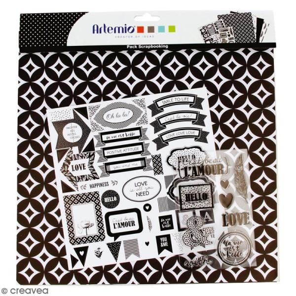 Kit scrapbooking Black & White - Papier, Stickers et Tampons - Photo n°1