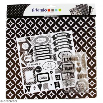 Kit scrapbooking Black & White - Papier, Stickers et Tampons