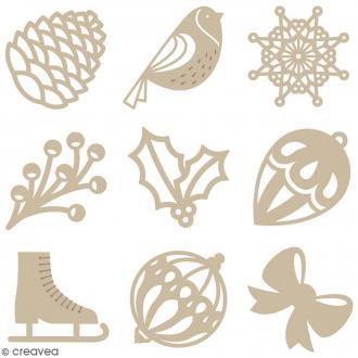 Set de mini silhouettes en bois - Noël Classique - 27 pcs