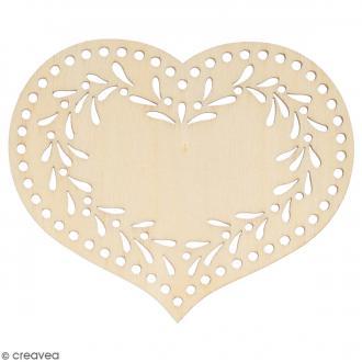 Silhouette Coeur Givré en bois - 8,5 x 7 cm - 3 pcs