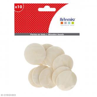 Perles Plates en bois à décorer - 40 mm - 10 pcs