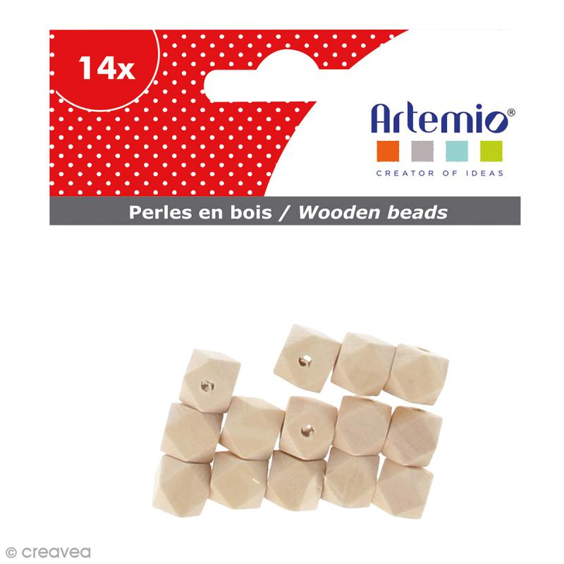 Perles Polygones en bois à décorer - 12 mm - 14 pcs - Photo n°1